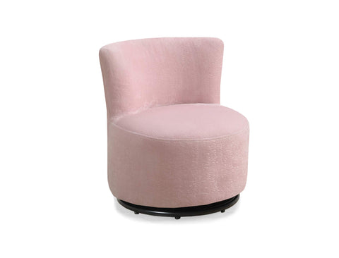 18.5 inch Fuzzy Pink Leather Look, Foam, and Metal Swivel Juvenile Chair