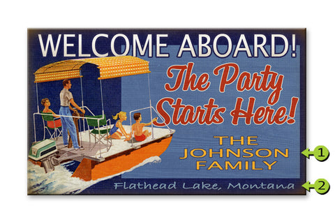 Welcome Aboard Pontoon Boat Wood 28x48