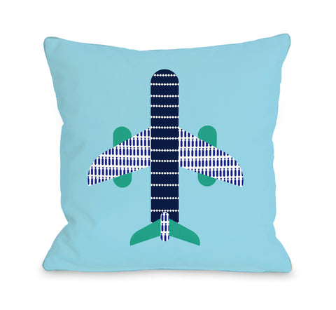 Airplane - Blue Throw Pillow by OBC 18 X 18