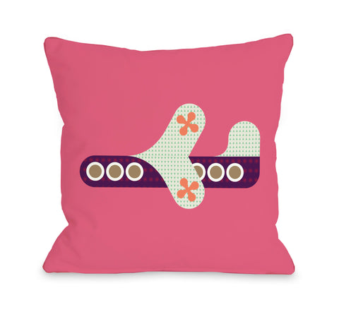 Airplane - Honeysuckle Throw Pillow by OBC 18 X 18