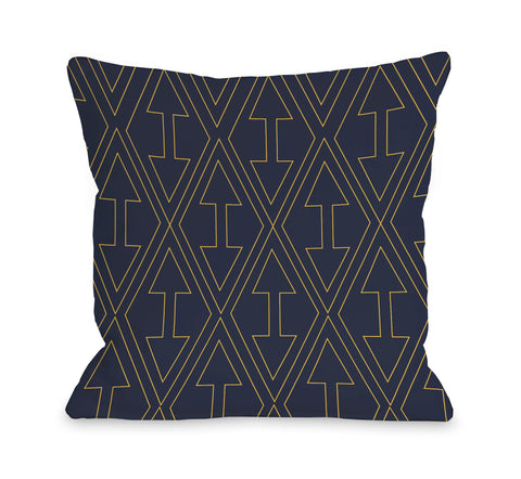 Arrows & Diamonds - Navy Yellow Throw Pillow by OBC 18 X 18