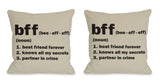 BFF Definition Throw Pillow by OBC 18 X 18