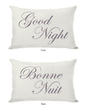 Bonne Nuit or Goodnight Reversible Lumbar Pillow by OBC 14 X 20