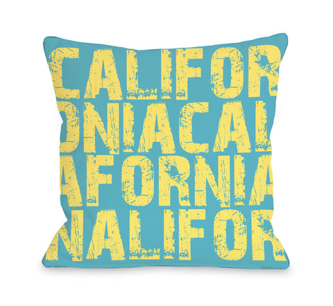 California All Over Word Throw Pillow by OBC 18 X 18