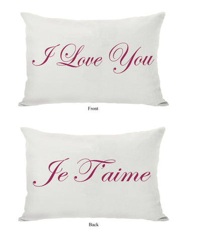 Je T'aime/I Love You Reversible Cream/Red Lumbar Pillow by OBC 14 X 20