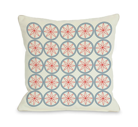 Circles & Flowers - Red Throw Pillow by OBC 18 X 18