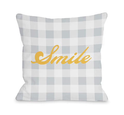 Smile Gingham Lumbar Pillow by OBC 14 X 20