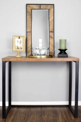 ArtFuzz 41.25 inch Natural Metal, Wood, and MDF Console Table