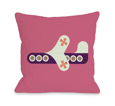 One Bella Casa Airplane - Honeysuckle Throw Pillow by OBC 16 X 16