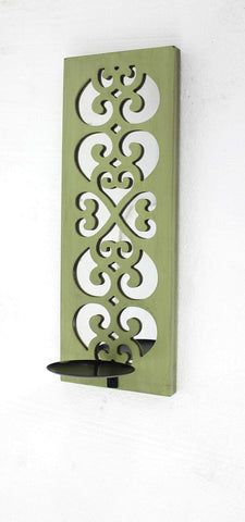 ArtFuzz 6.25 inch X 17.25 inch X 5.25 inch Green Traditional Wood Candle Holder Sconce with Mirror