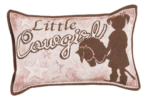 ArtFuzz Little Cowgirl Small Tapestry Pillow
