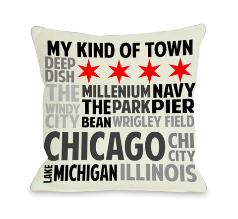 Chicago Illinois Subway Style Words - Ivory Gray Throw Pillow by OBC 18 X 18