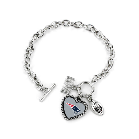 Aminco International NFL New England Patriots Charmed Love Football Bracelet