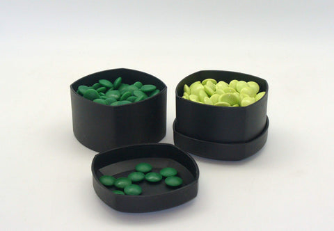 Green Glass Stones and Grey Bowls, 8mm