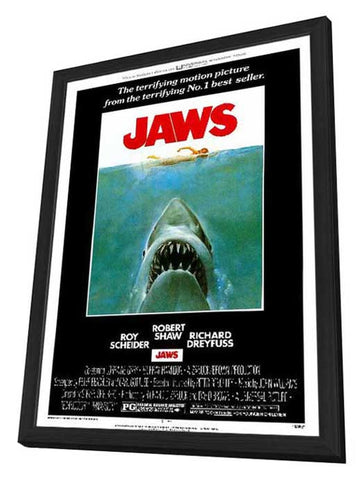 Jaws 11 x 17 Movie Poster - Style A - in Deluxe Wood Frame