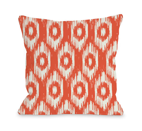 Kelly Ikat - Orange Ivory Lumbar Pillow by OBC 14 X 20