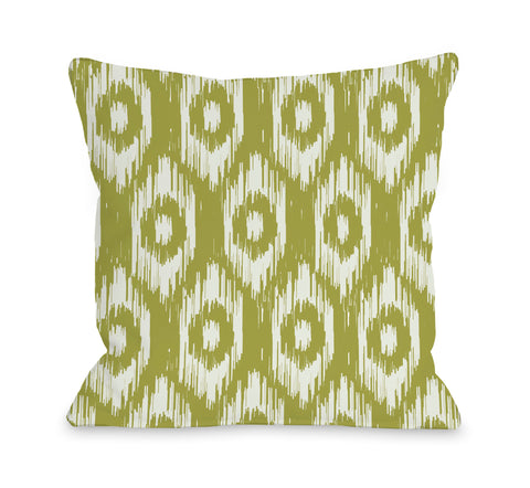 Kelly Ikat - Oasis Green Ivory Lumbar Pillow by OBC 14 X 20