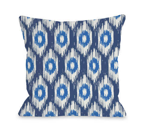 Kelly Ikat - Blue Multi Lumbar Pillow by OBC 14 X 20