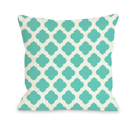 All Over Moroccan - Turquoise Ivory Throw Pillow by OBC 18 X 18
