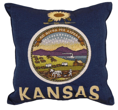 Simply Flag of Kansas Tapestry Pillow