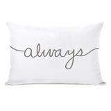 Always Mix & Match - White Gray Lumbar Pillow by OBC 14 X 20