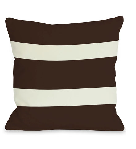 Helen Stripe - Chocolate Throw Pillow by OBC 18 X 18