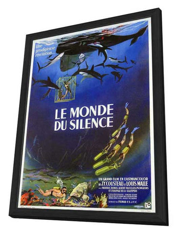 The Silent World 11 x 17 Movie Poster - French Style A - in Deluxe Wood Frame