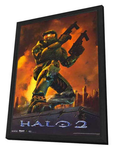 Halo 2 11 x 17 Video Game Poster - Style B - in Deluxe Wood Frame