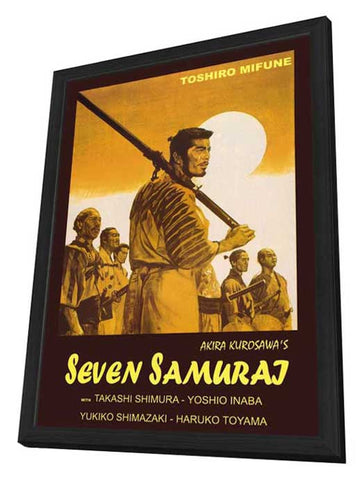 Seven Samurai 11 x 17 Movie Poster - Italian Style A - in Deluxe Wood Frame
