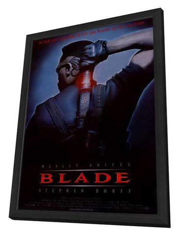 Blade 11 x 17 Movie Poster - German Style A - in Deluxe Wood Frame