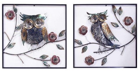 ArtFuzz Midnight Garden Owl On Blooming Branches Square Wall Panel- Set of 2 - Metallic Multi-Color