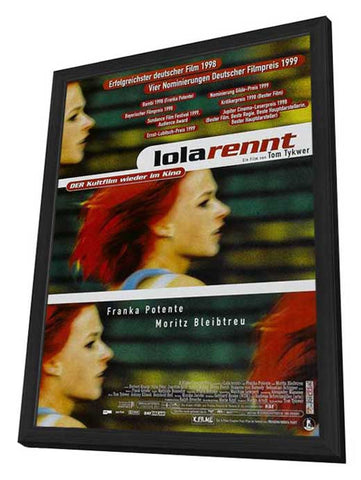 Run Lola Run 11 x 17 Movie Poster - German Style C - in Deluxe Wood Frame