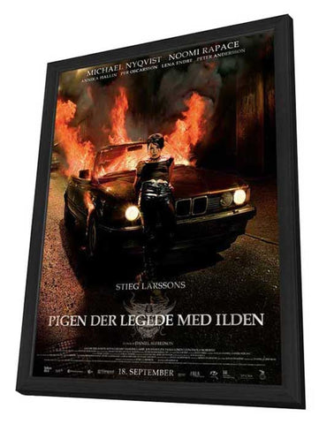 The Girl Who Played with Fire 11 x 17 Movie Poster - Danish Style B - in Deluxe Wood Frame