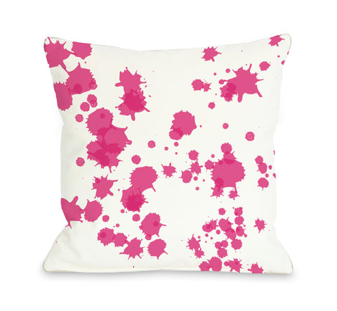 Eva Splatters - White Pink Throw Pillow by OBC 18 X 18