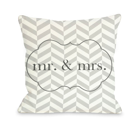 Mr & Mrs Frame Throw Pillow by OBC 18 X 18