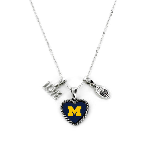 Aminco International NCAA Michigan Wolverines Charmed Love Football Necklace