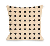 Penny Polka Dots Cream - Black Throw Pillow by OBC 18 X 18