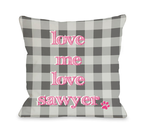 Plaid Love Me Love My Dog Personalized Throw Pillow by OBC 18 X 18