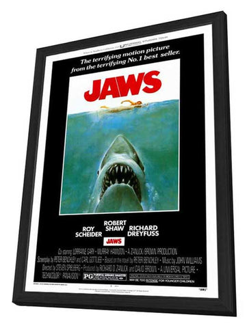 Jaws 27 x 40 Movie Poster - Style A - in Deluxe Wood Frame