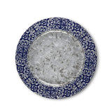 "13.5"" D x .5"" H Galvanized Metal Ocean Blue Geo Print Charger Plate"