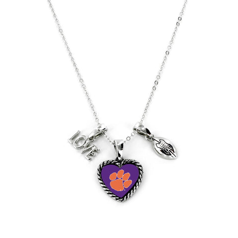 Aminco International NCAA Clemson Tigers Charmed Love Football Necklace