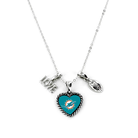 Aminco International NFL Miami Dolphins Charmed Love Football Necklace
