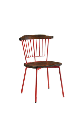 ArtFuzz 21 inch X 19 inch X 32 inch Red Brown Oak Wood Metal Side Chair (Set-2)