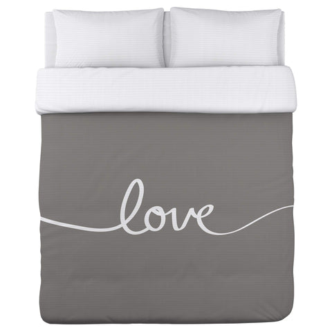 One Bella Casa Love Mix & Match - Gray Duvet Cover by OBC 88 X 88