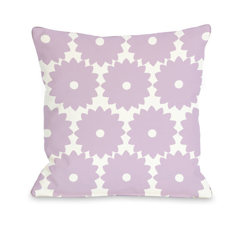 One Bella Casa Gia Flower Print - Lilac Throw Pillow by OBC 16 X 16