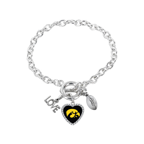 Aminco International NCAA Iowa Hawkeyes Charmed Love Football Bracelet