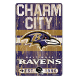 Wincraft NFL Baltimore Ravens 11x17 Wood Sign, Team Color, One Size
