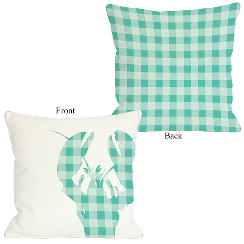 One Bella Casa Plaid Lobster - Aqua Throw Pillow by OBC 18 X 18