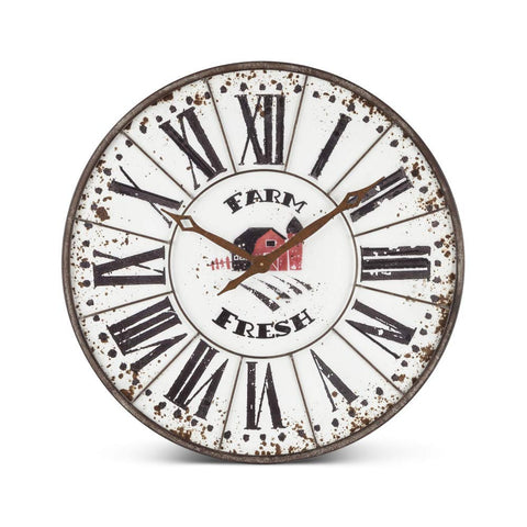 Gerson 94334 Metal Farm Clock Home Decor, 24InL x 2InW x 24InH, Multicolor