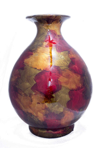 ArtFuzz 19 inch Foiled & Lacquered Ceramic Vase - Copper, Red and Gold